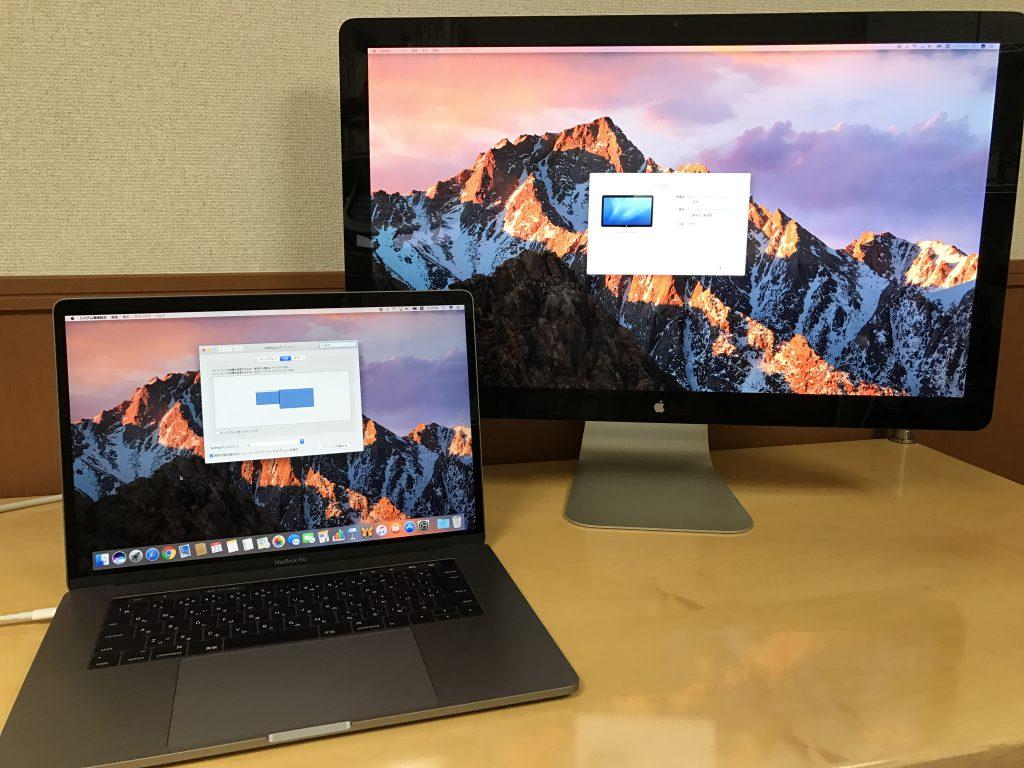 MacBook Pro (Late 2016)からThunderbolt 3(USB-C)- Thunderbolt 2アダプタ経由でThunderbolt Displayを接続した結果、使えました。